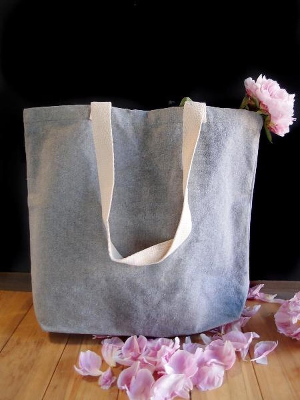 Recycled Cotton Bags, Wholesale Cotton Tote Bags, Grey Recycled Canvas Tote 18 x 15 x 5 3/4 inches B894-70 | Packaging Decor