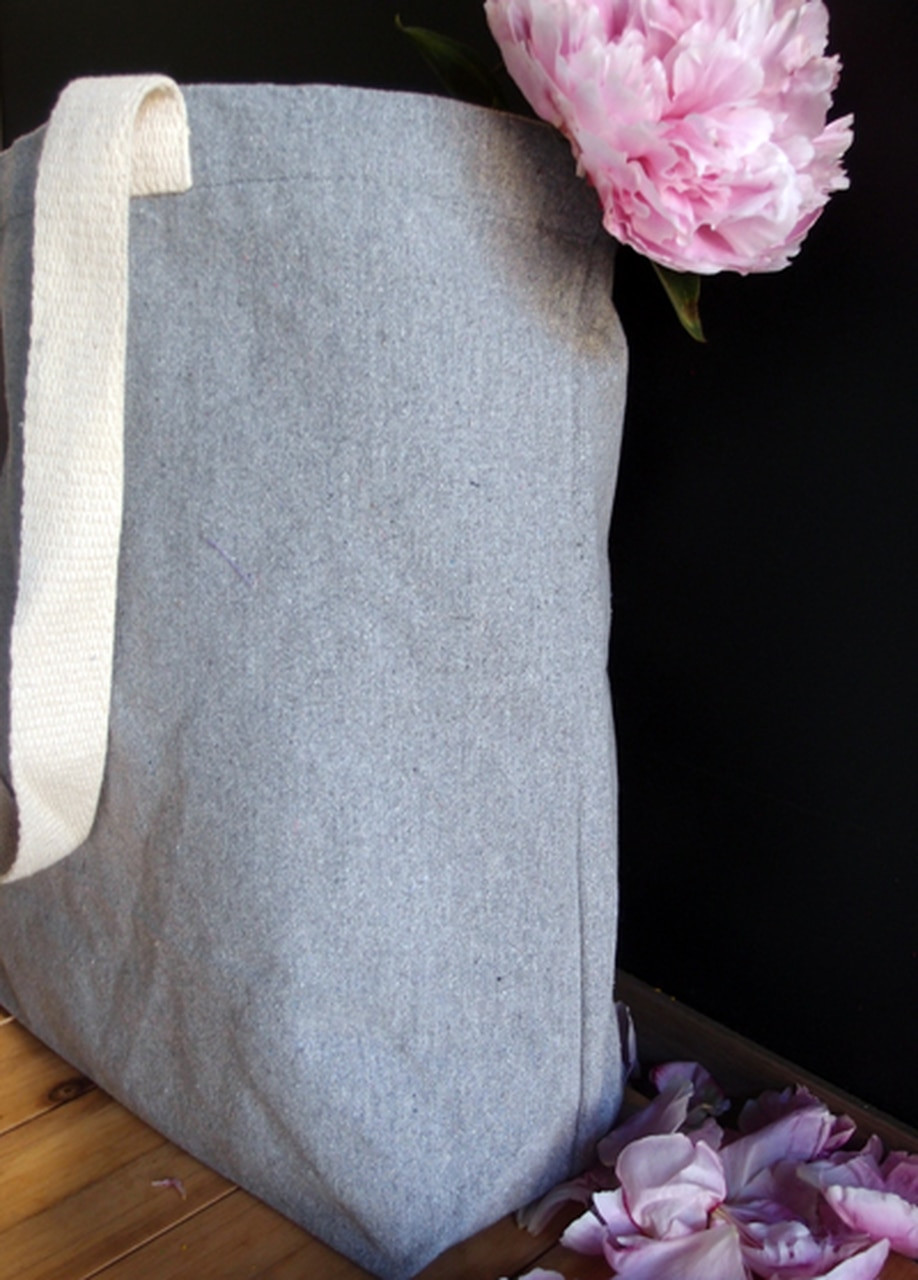 Recycled Fabric Bags, Wholesale Canvas Tote Bags, Grey Recycled Canvas Tote 18 x 15 x 5 3/4 inches B894-70 | Packaging Decor