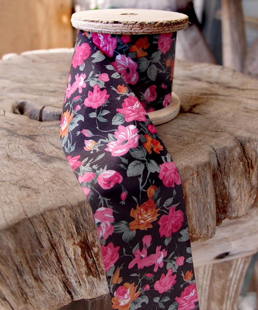 Vintage Floral Print on Black Ribbon