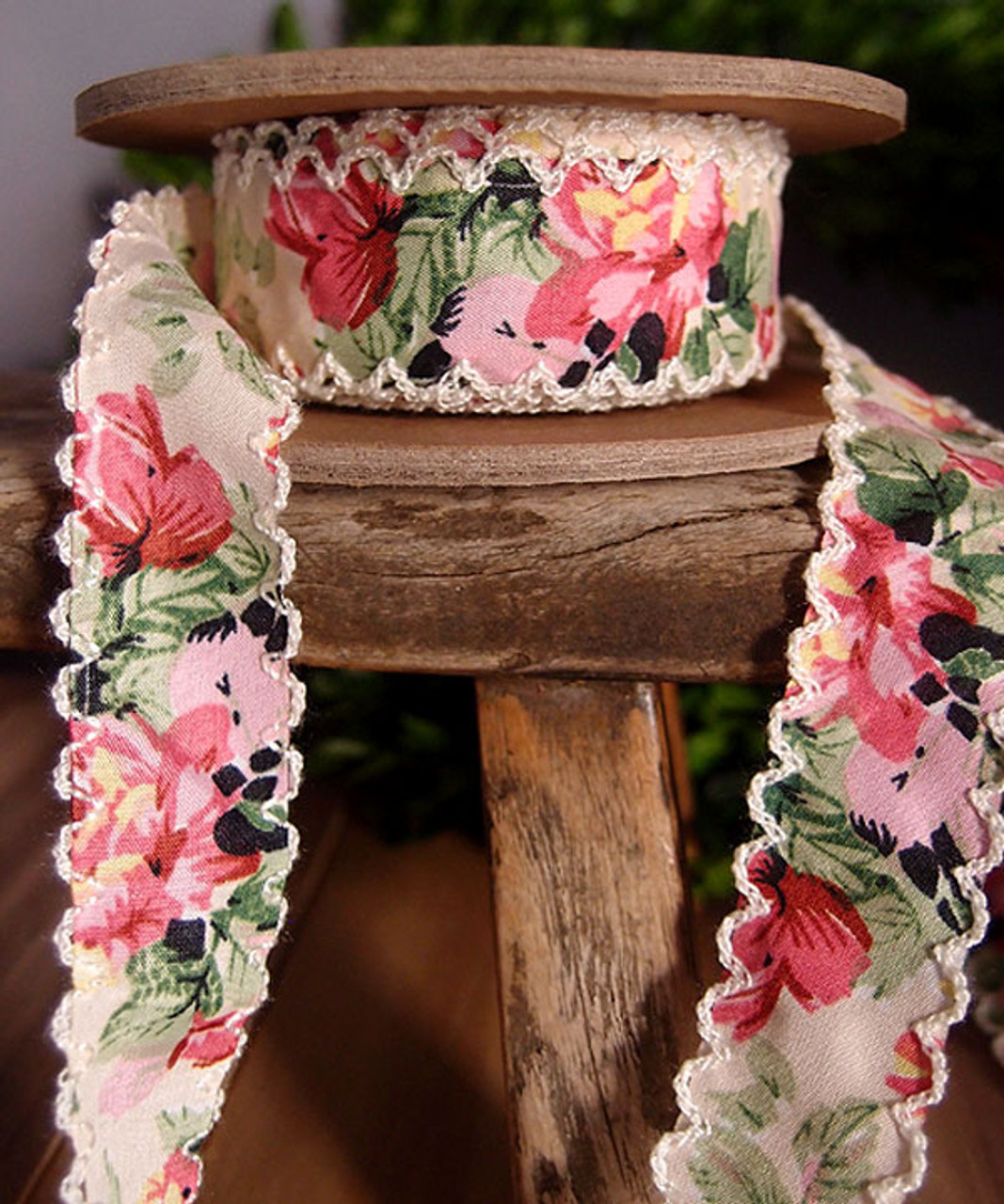 Mint Green Vintage Floral Ribbon with Scalloped Edge