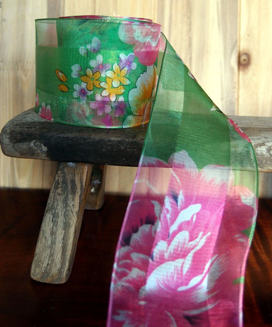 Green Sheer Floral Wired Ribbon (2 sizes)