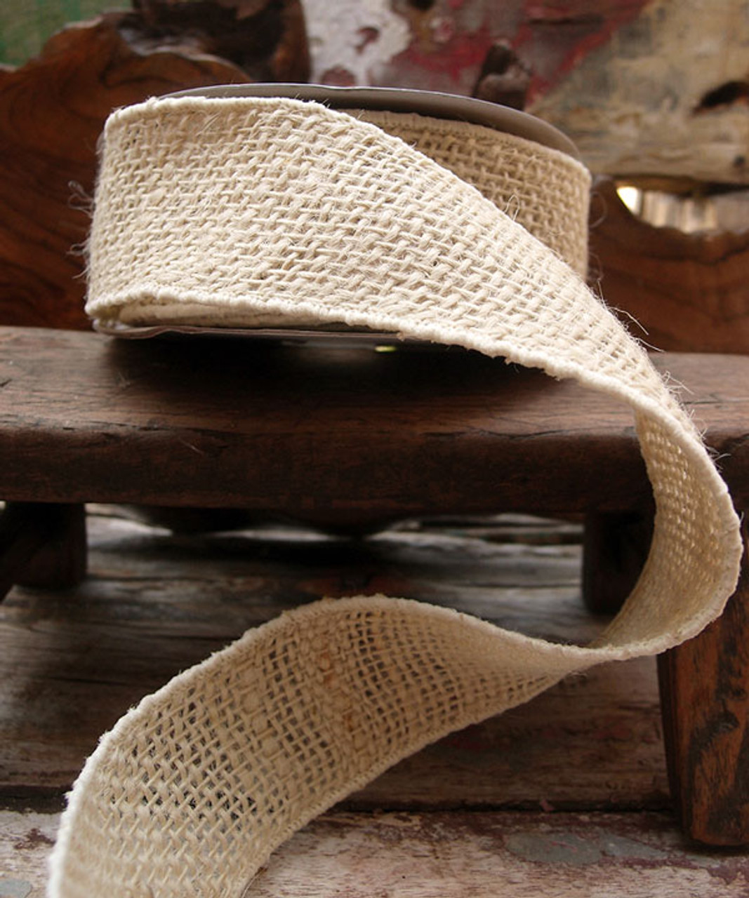 Burlap Wired Ribbon Off White