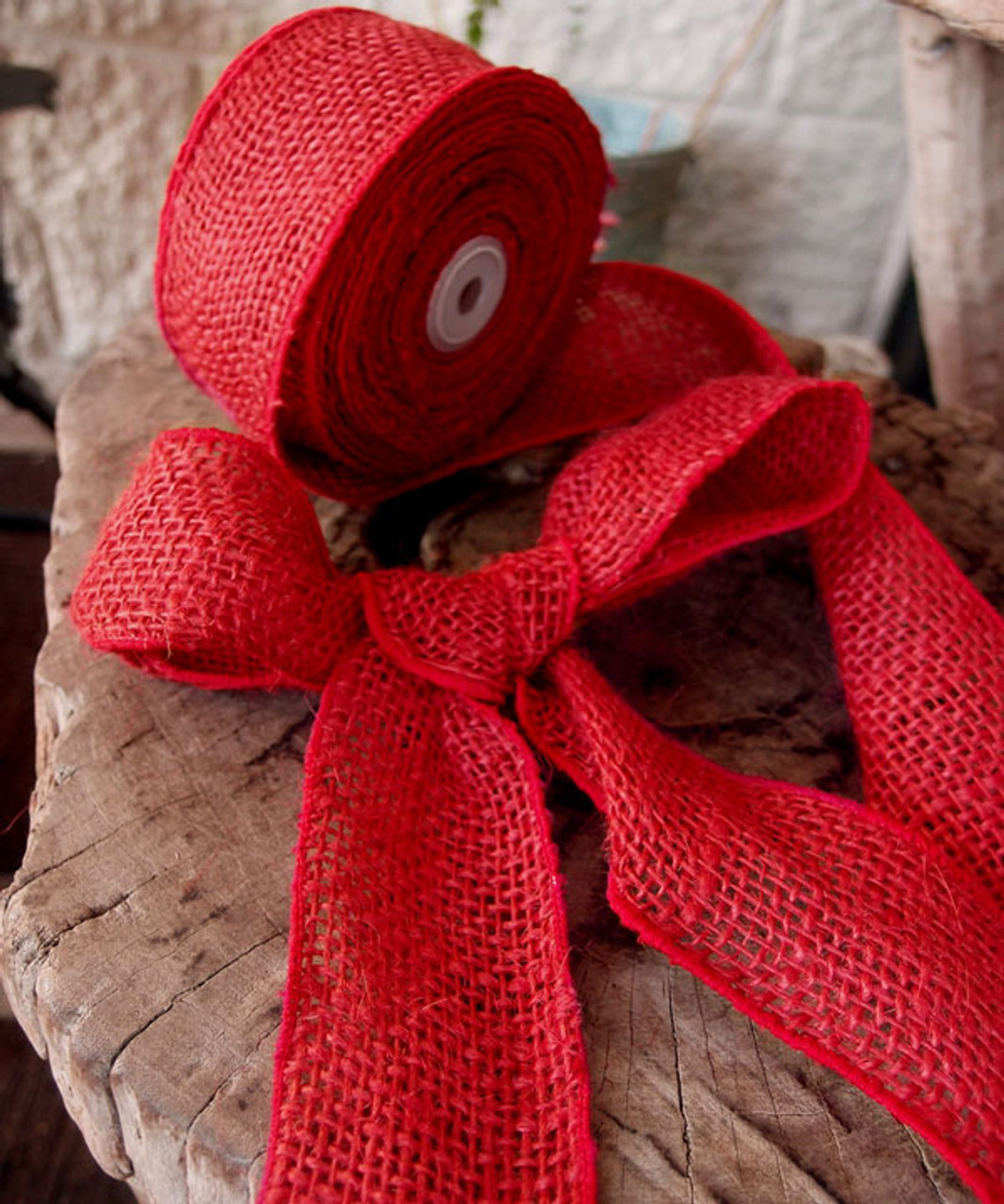 Burlap Wired Ribbon Red