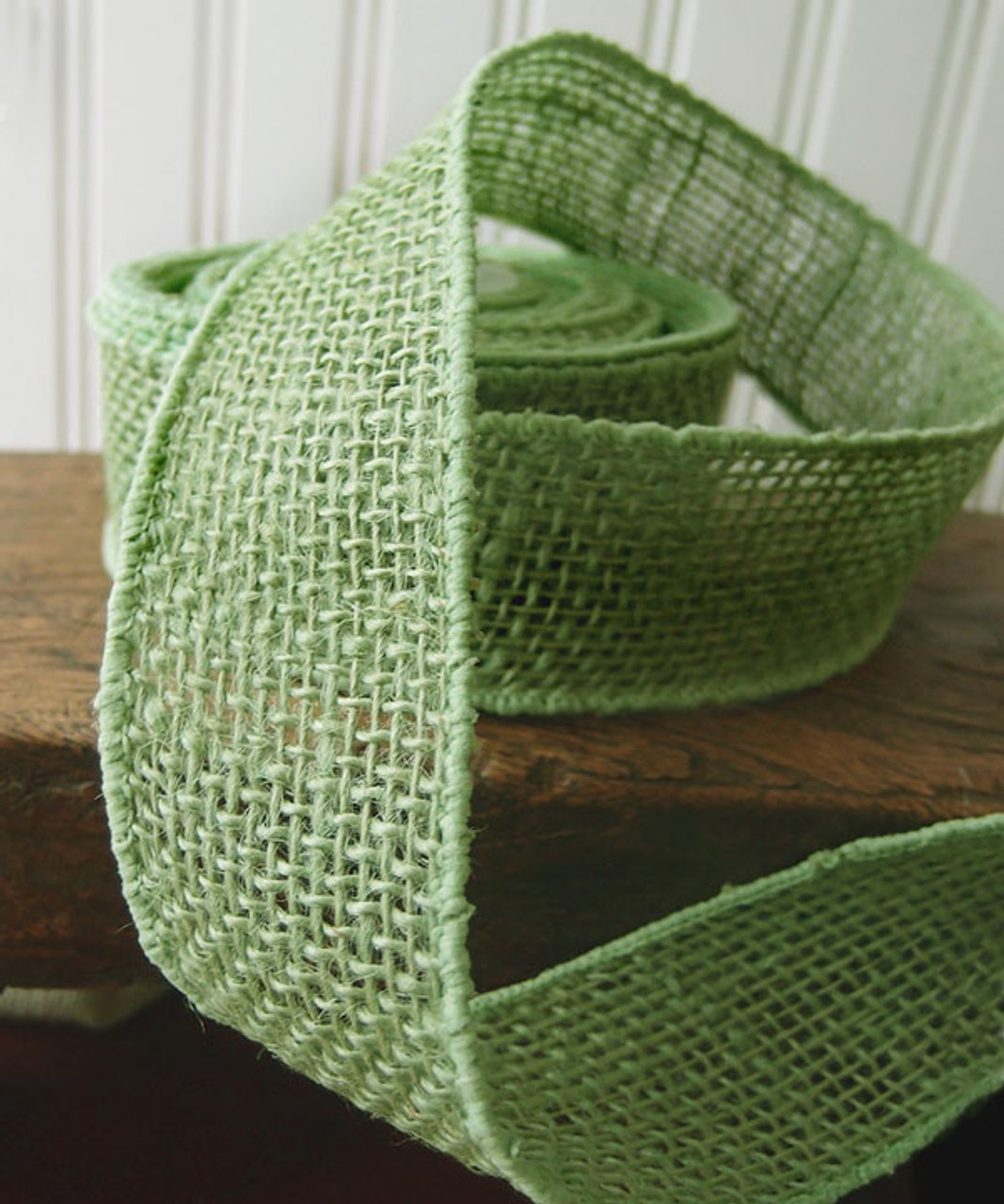 Burlap Wired Ribbon Green