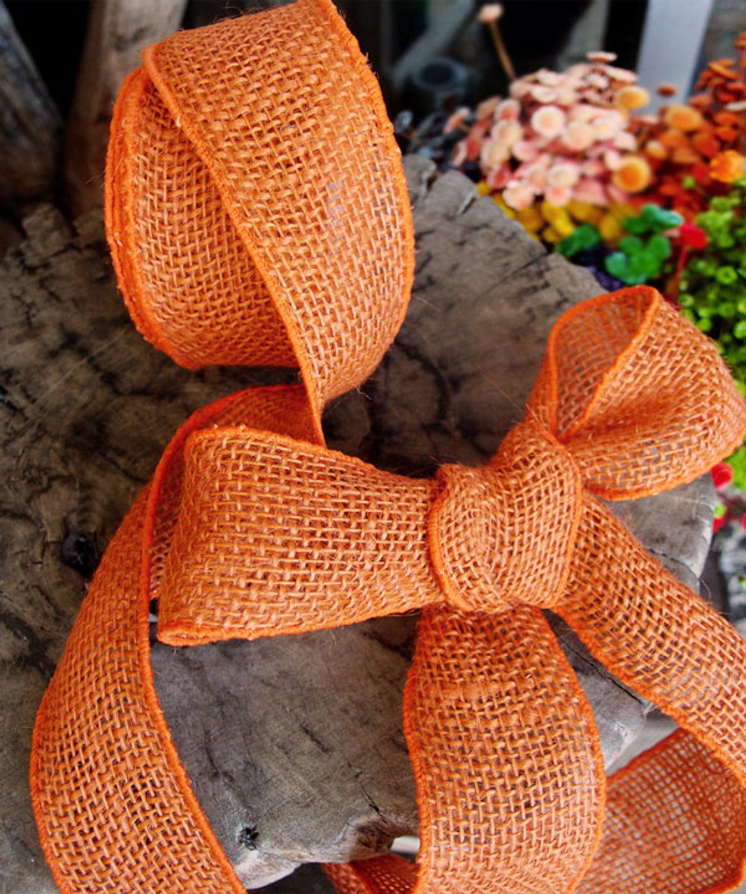 Burlap Wired Ribbon Orange