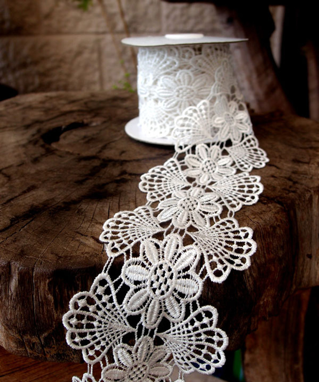 Embroidery Floral Lace Ribbon - Natural