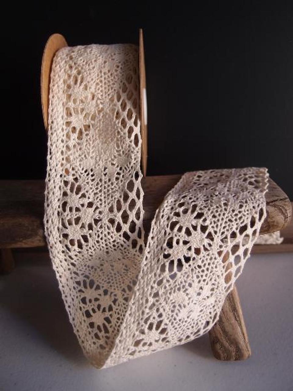 "2 1/2"" Cotton Crochet Lace Ribbon - Ivory"