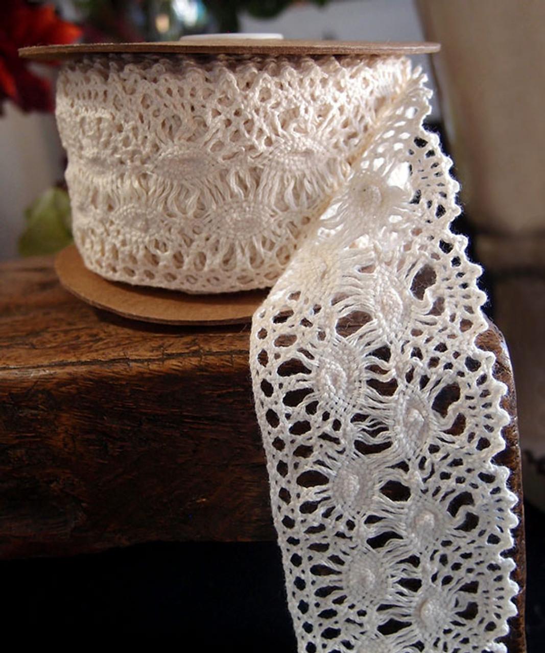"2 1/2"" Cotton Crochet Lace Ribbon-Ivory"