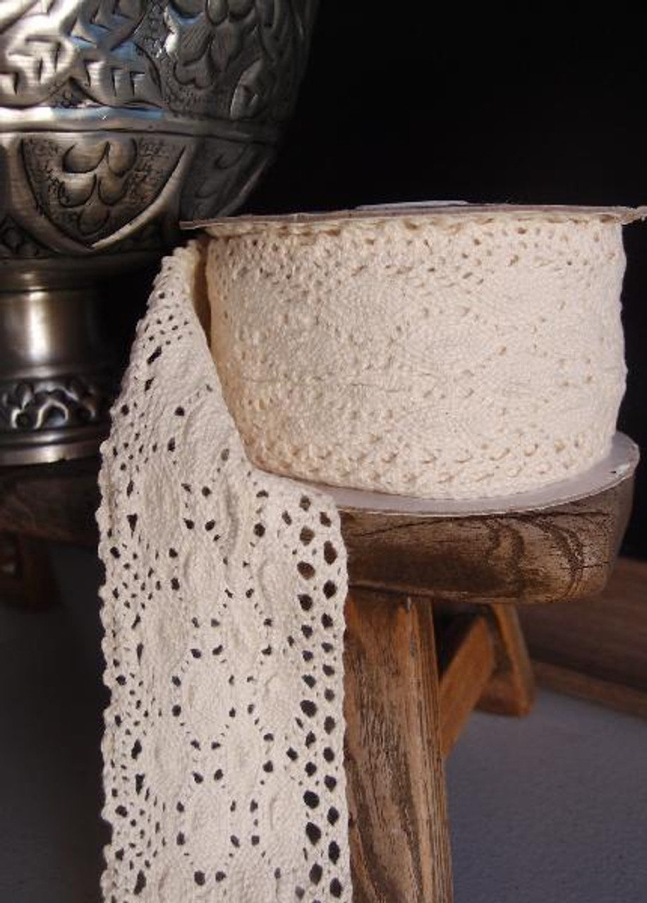 "2 1/2"" Cotton Crochet Lace Ribbon Ivory"