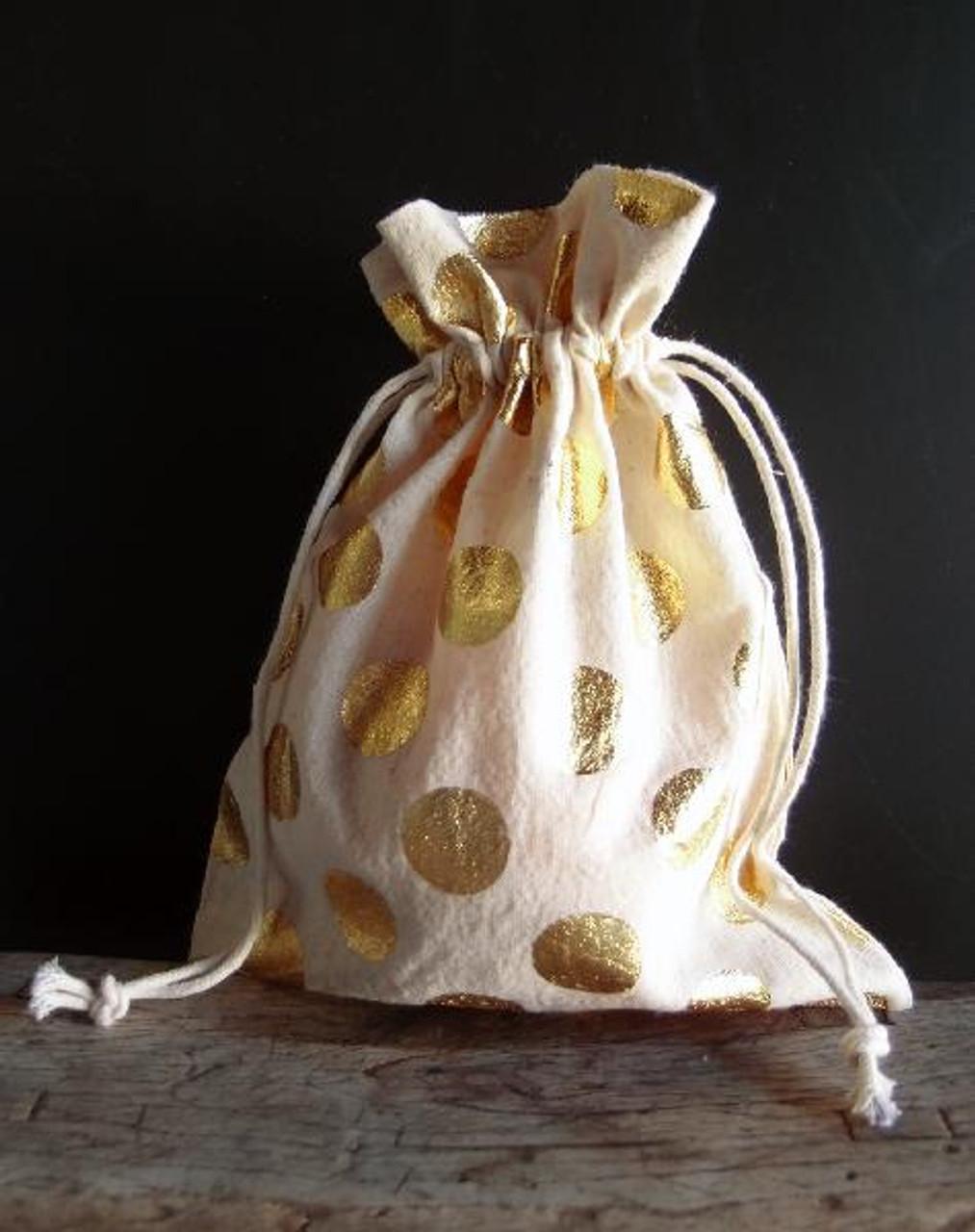 Cotton Bag with Big Gold Metallic Dots ( 2 sizes)