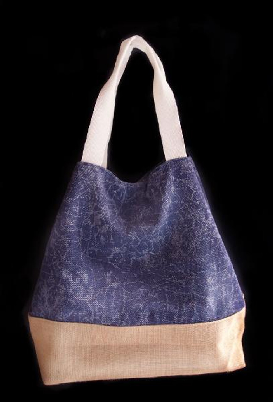 Washed Canvas Tote with Burlap Navy Blue B699-22, Wholesale Canvas Bags, Wholesale Tote Bags | Packaging Decor