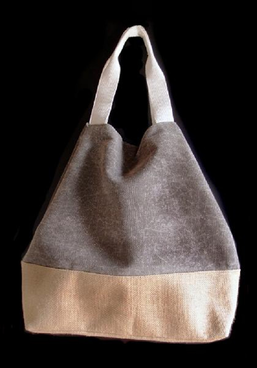 Washed Canvas Tote with Burlap - Gray