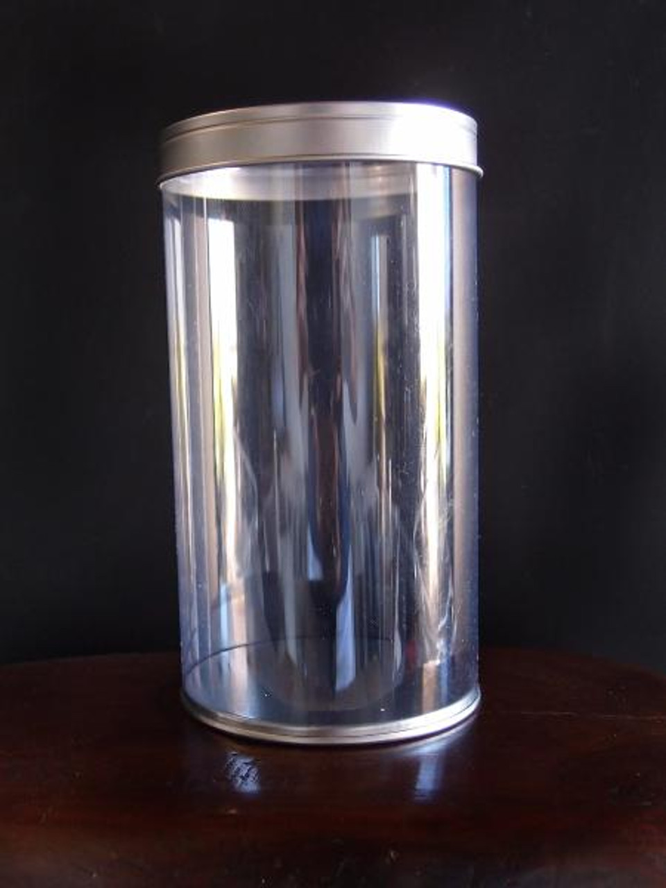PET Tin Cylinder with Clear Window Lid (6 sizes)