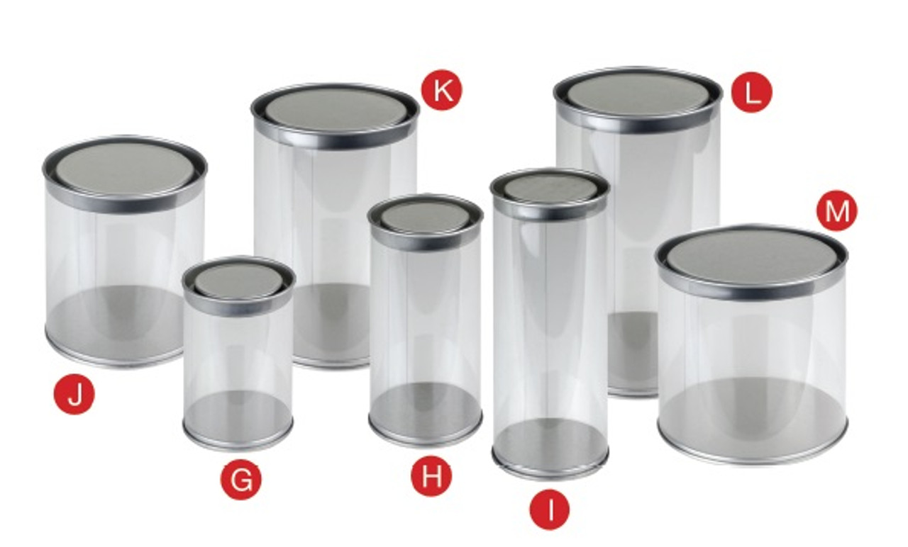 PET Tin Cylinder with Solid Tin Lid (7 sizes)