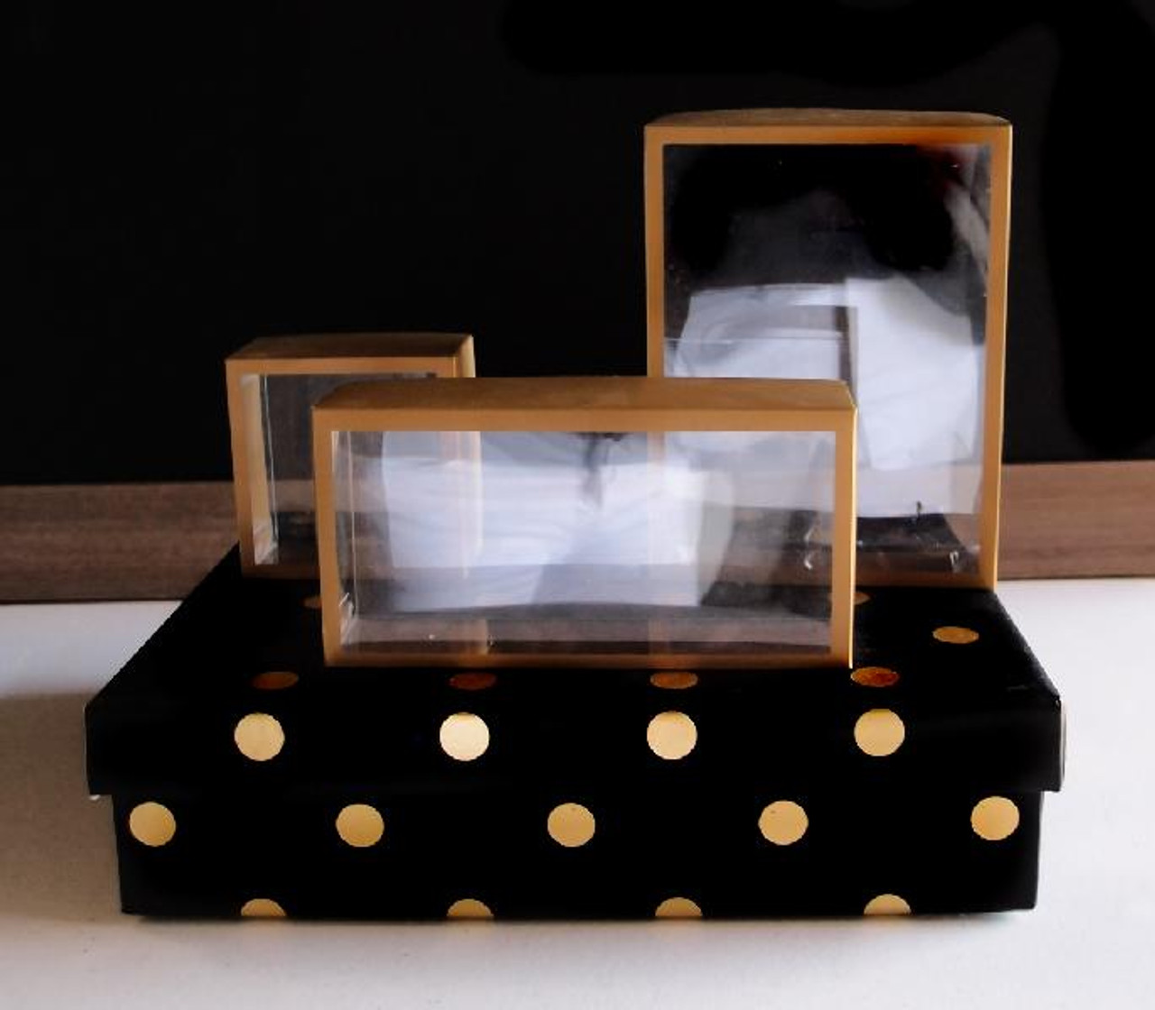 PET Truffle Box with Gold Cover (3 sizes)
