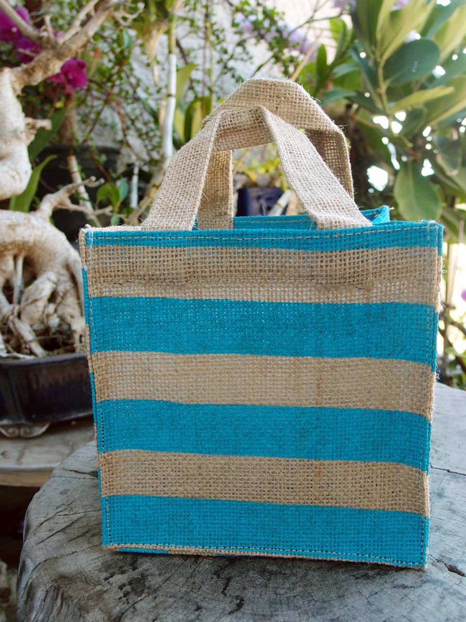 """Jute Plant Tote with Blue Stripes - 6"""" x 6"""" x 6"""""""