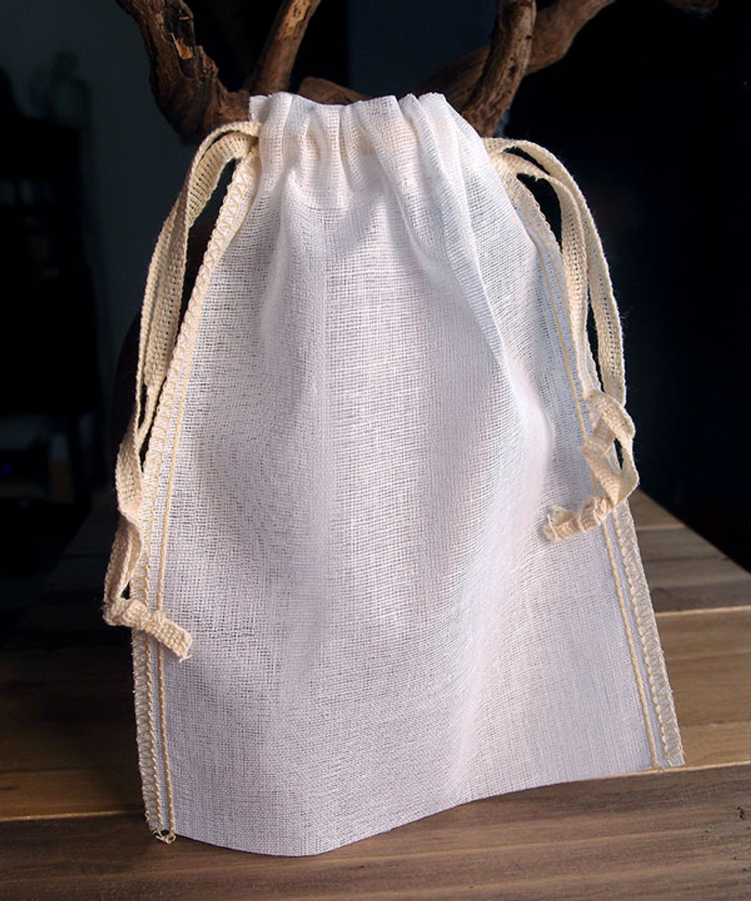 Cotton See-thru Muslin Bags with Ivory Serged Edge (9 sizes)