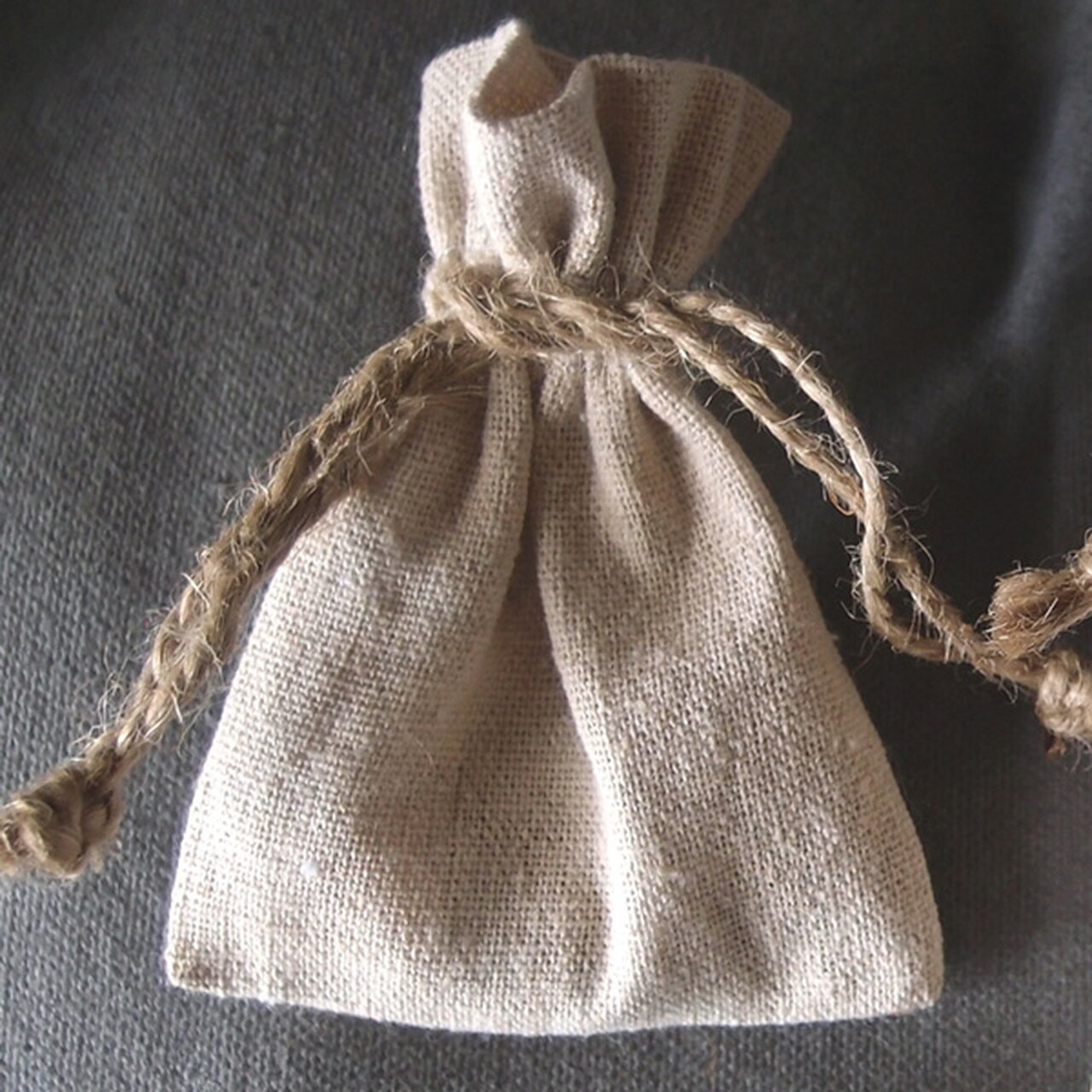 Linen Drawstring Bag with Jute Cord 3 x 4 inches, Wholesale Linen Drawstring Bags | Packaging Decor
