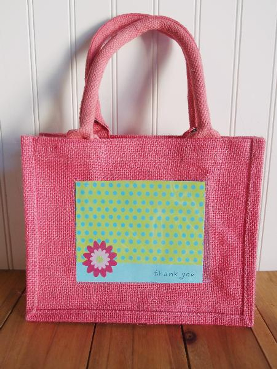 "Jute Pink Burlap Tote w/Photo Pouch 10"" x 8"" x 5"""