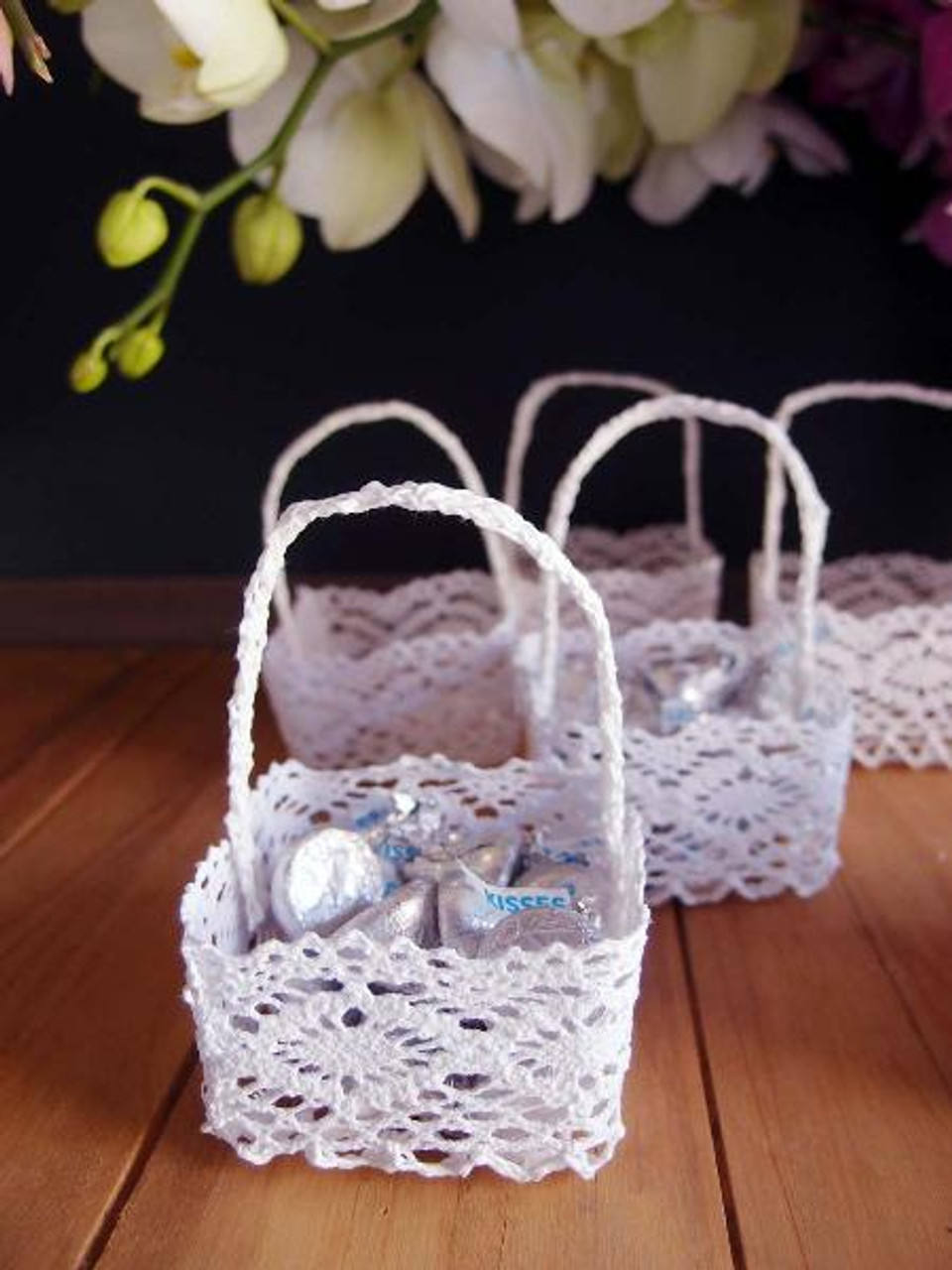 Mini Lace Favor Baskets Square LS189-81, Base  2.75 x 2.75 inches x Height  1.75 inches | Packaging Decor