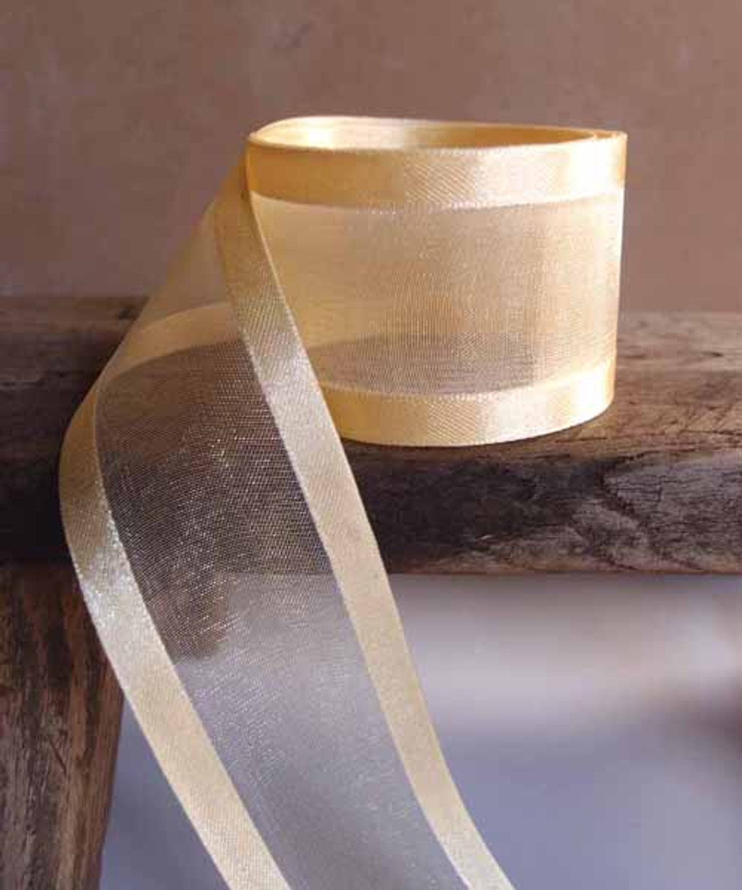 Light Gold Sheer Ribbon with Satin Edge (4 sizes)