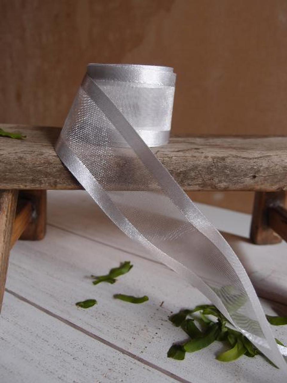 Silver Sheer Ribbon with Satin Edge (5 sizes)