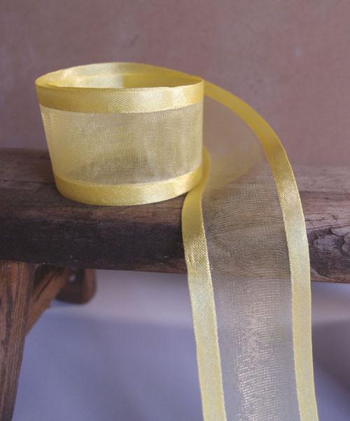 Yellow Sheer Ribbon with Satin Edge (2 sizes)