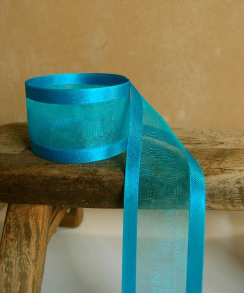 Turquoise Sheer Ribbon with Satin Edge (2 sizes)