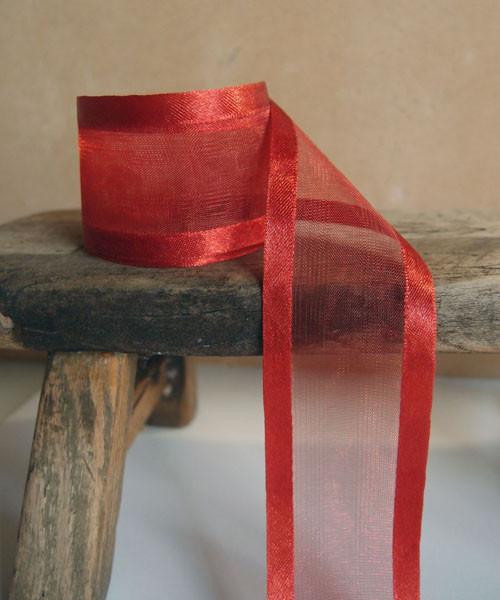 Crimson Sheer Ribbon with Satin Edge (4 sizes)
