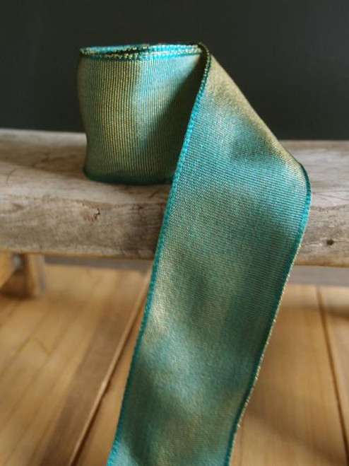 Hunter Green Two-Toned Grosgrain Ribbon with Wired Edge ( 1 size)