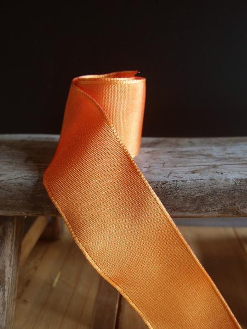 Orange Two-Toned Grosgrain Ribbon with Wired Edge (2 sizes)