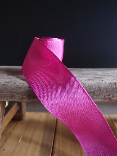 Hot Pink Two-Toned Grosgrain Ribbon with Wired Edge (2 sizes)