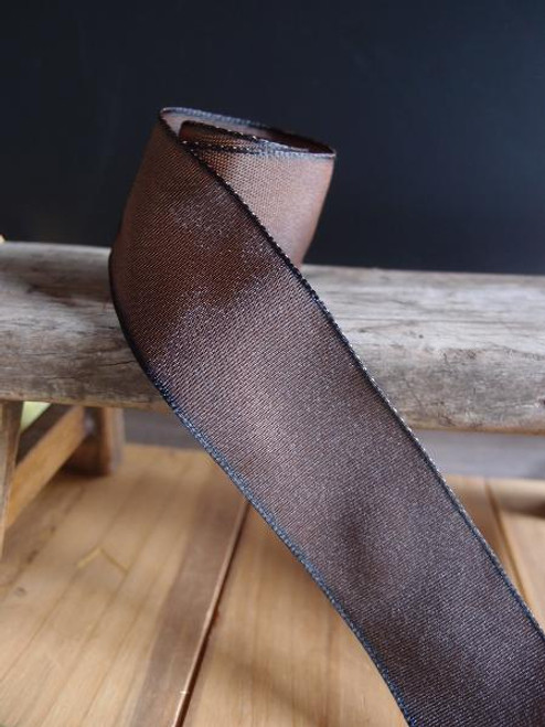 Brown Two-Toned Grosgrain Ribbon with Wired Edge (2 sizes)