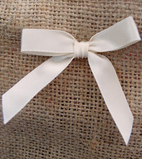 Ivory Satin Pre-tied Bows w/Twist-tie (4 sizes)