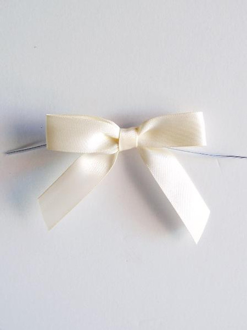 Ivory Satin Pre-tied Bows w/Twist-tie (4 sizes)