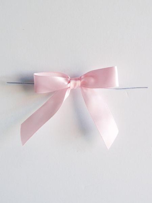 Pink Satin Pre-tied Bows w/Twist-tie (4 sizes)
