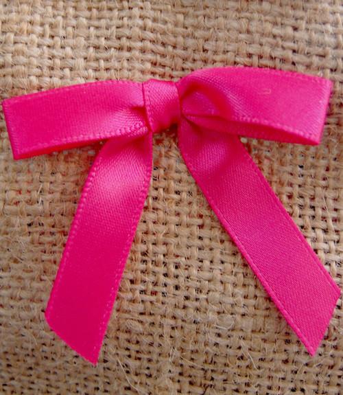 Hot Pink Satin Pre-tied Bows w/Twist-tie (4 sizes)