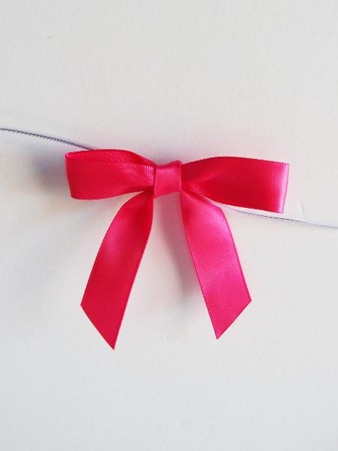 Hot Pink Satin Pre-tied Bows w/Twist-tie (4 sizes)