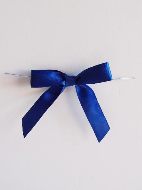 Royal Blue Satin Pre-tied Bows w/Twist-tie (4 sizes)