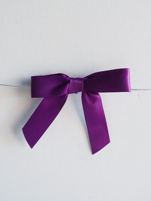 Purple Satin Pre-tied Bows w/Twist-tie (4 sizes)