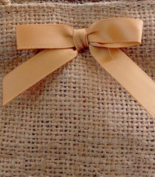 Gold Satin Pre-tied Bows w/Twist-tie (4 sizes)