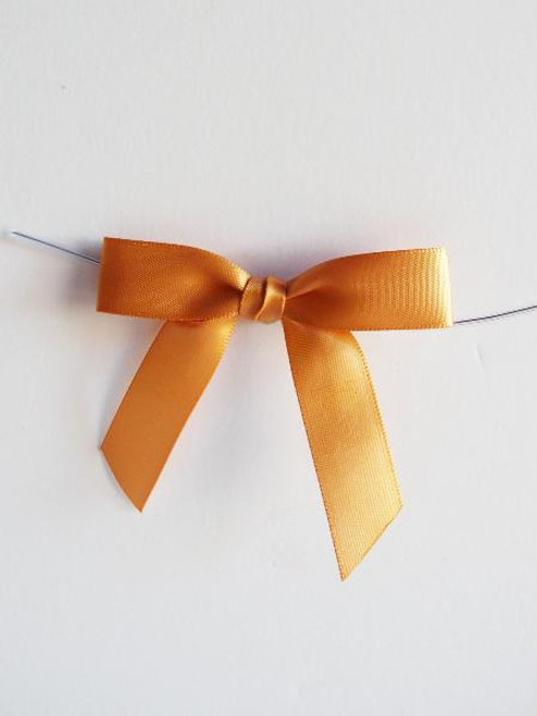 Gold Satin Pre-tied Bows w/Twist-tie (4 sizes)