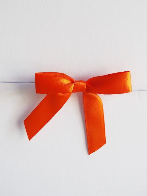 Orange Satin Pre-tied Bows w/Twist-tie (4 sizes)