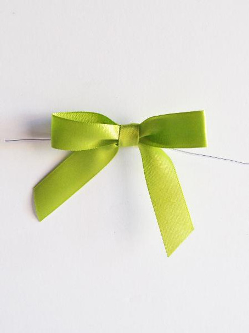 Lime Satin Pre-tied Bows w/Twist-tie (4 sizes)
