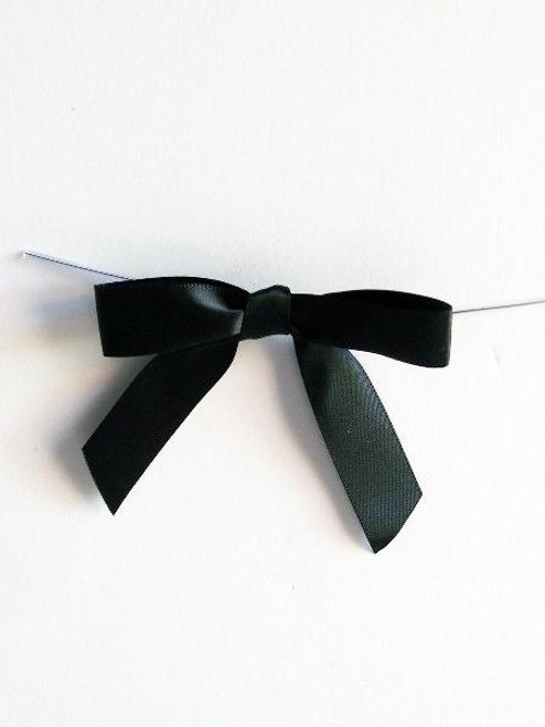 Black Satin Pre-tied Bows w/Twist-tie (4 sizes)