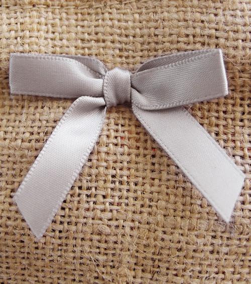 Silver Satin Pre-tied Bows w/Twist-tie (4 sizes)
