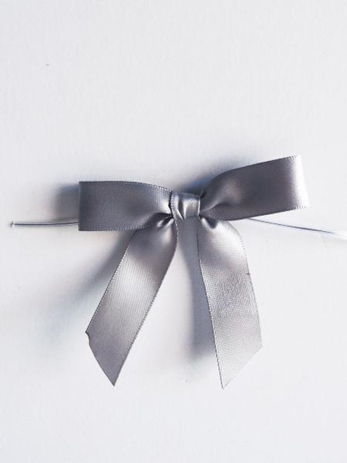 Silver Satin Pre-tied Bows w/Twist-tie (4 sizes)