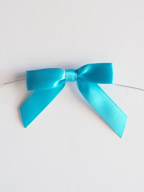 Turquoise Satin Pre-tied Bows w/Twist-tie (4 sizes)