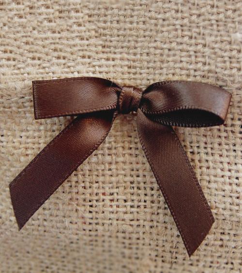 Chocolate Satin Pre-tied Bows w/Twist-tie (4 sizes)