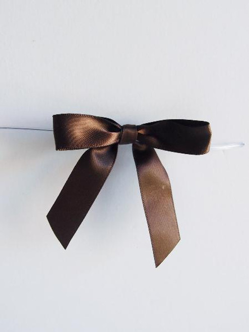 Chocolate Satin Pre-tied Bows w/Twist-tie (4 sizes)
